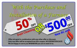 Save $500 on a central air conditioner with new furnace purchase and install