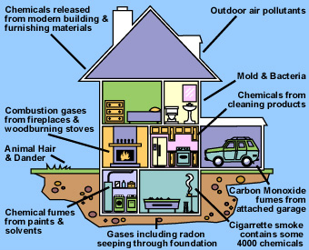 Many sources of pollution are in and around the home